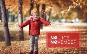 little girl enjoying Fall and No-Lice November